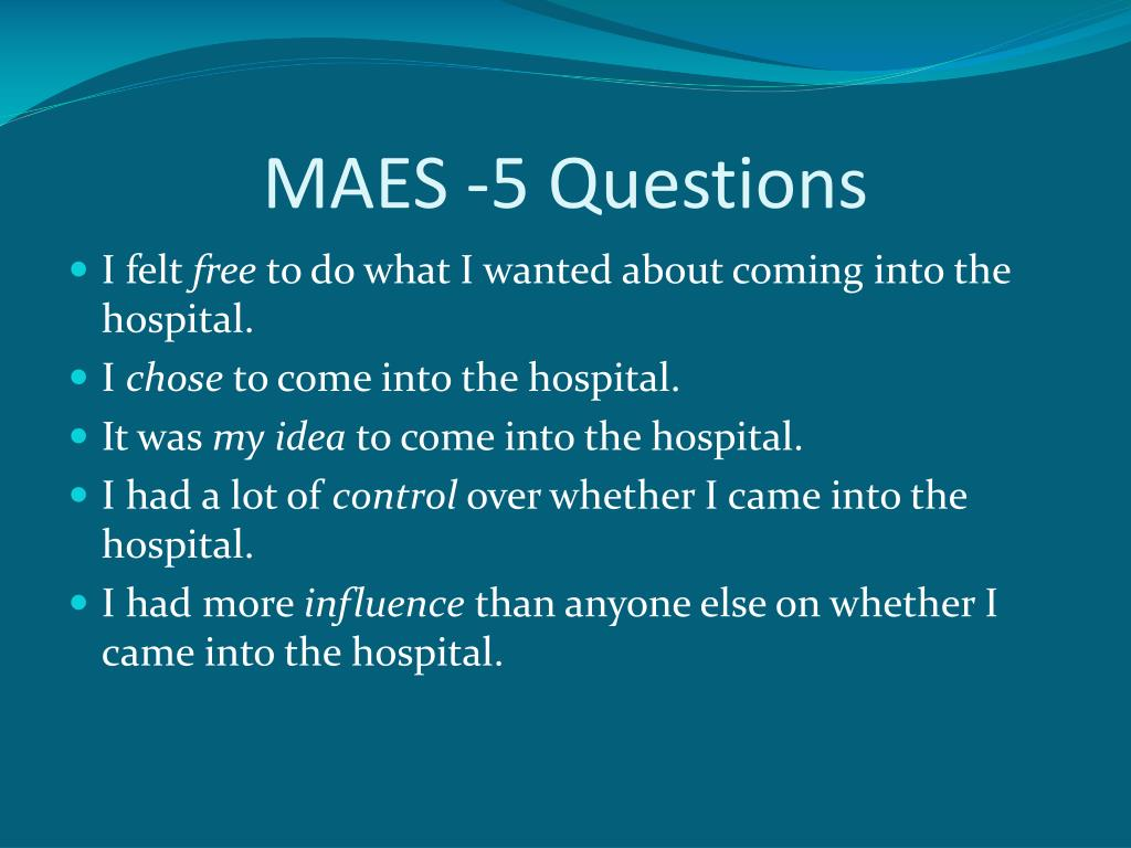 MAES -5 Questions