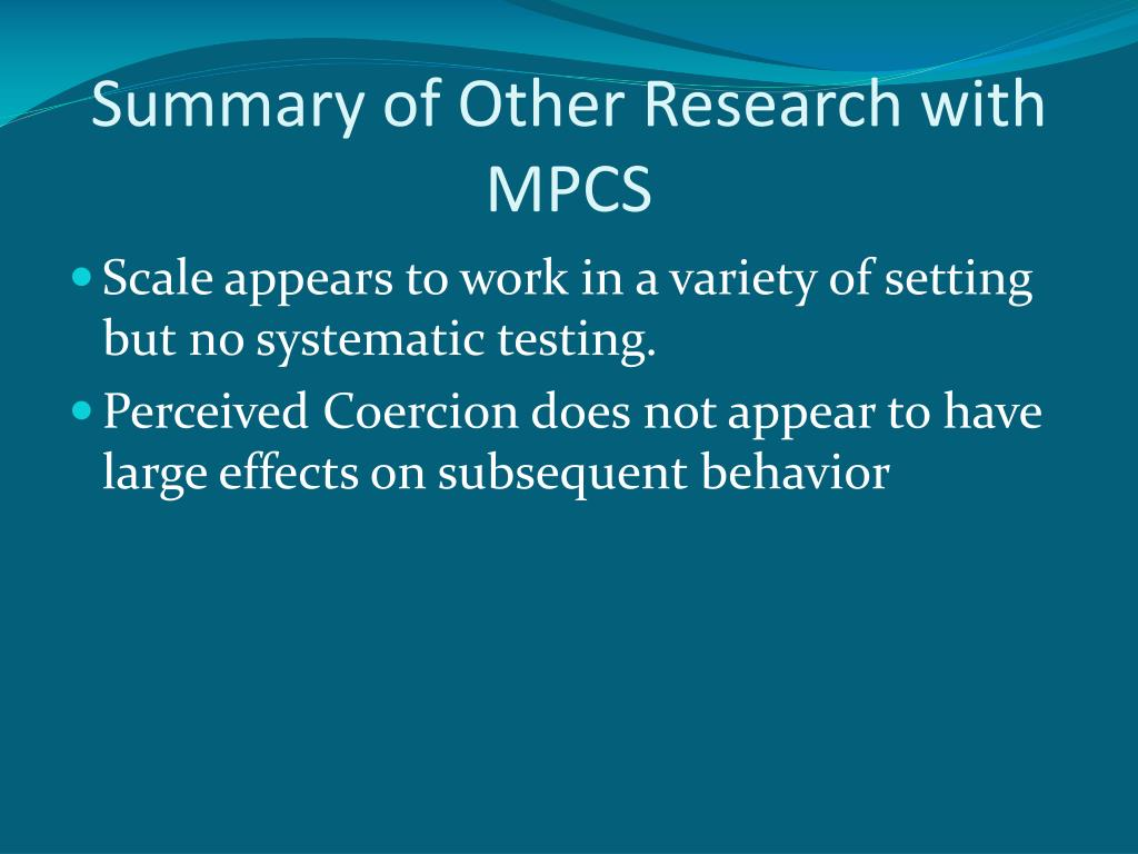 Summary of Other Research with MPCS