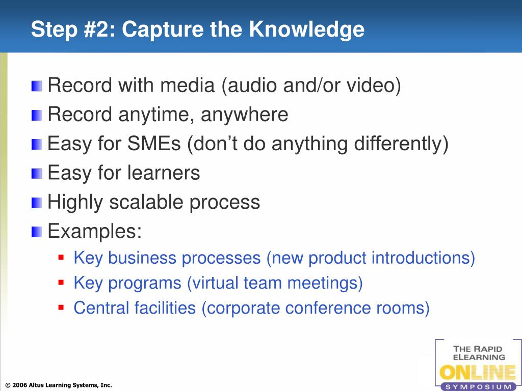 Step #2: Capture the Knowledge