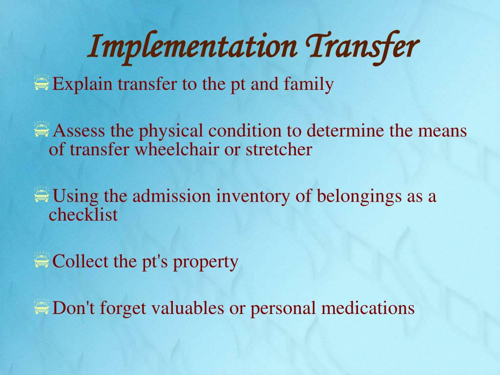 Implementation Transfer