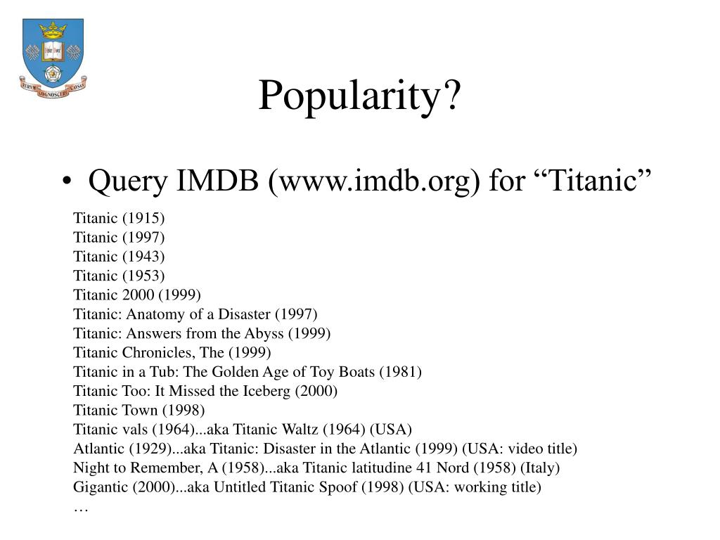 Popularity?