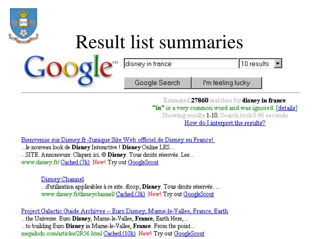 Result list summaries