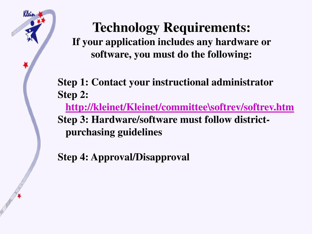 Technology Requirements: