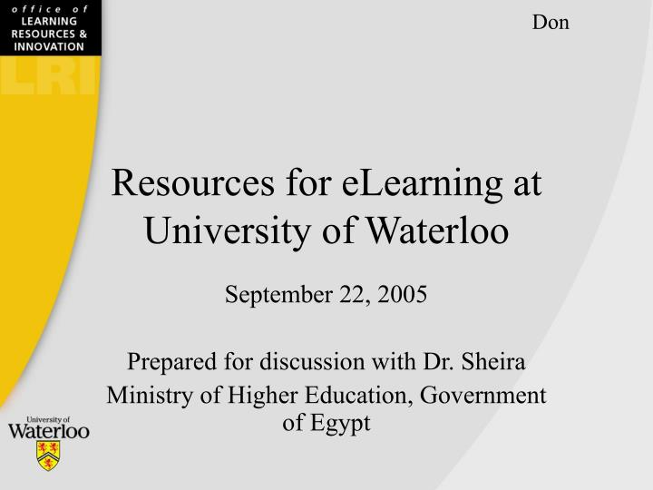 Resources for elearning at university of waterloo