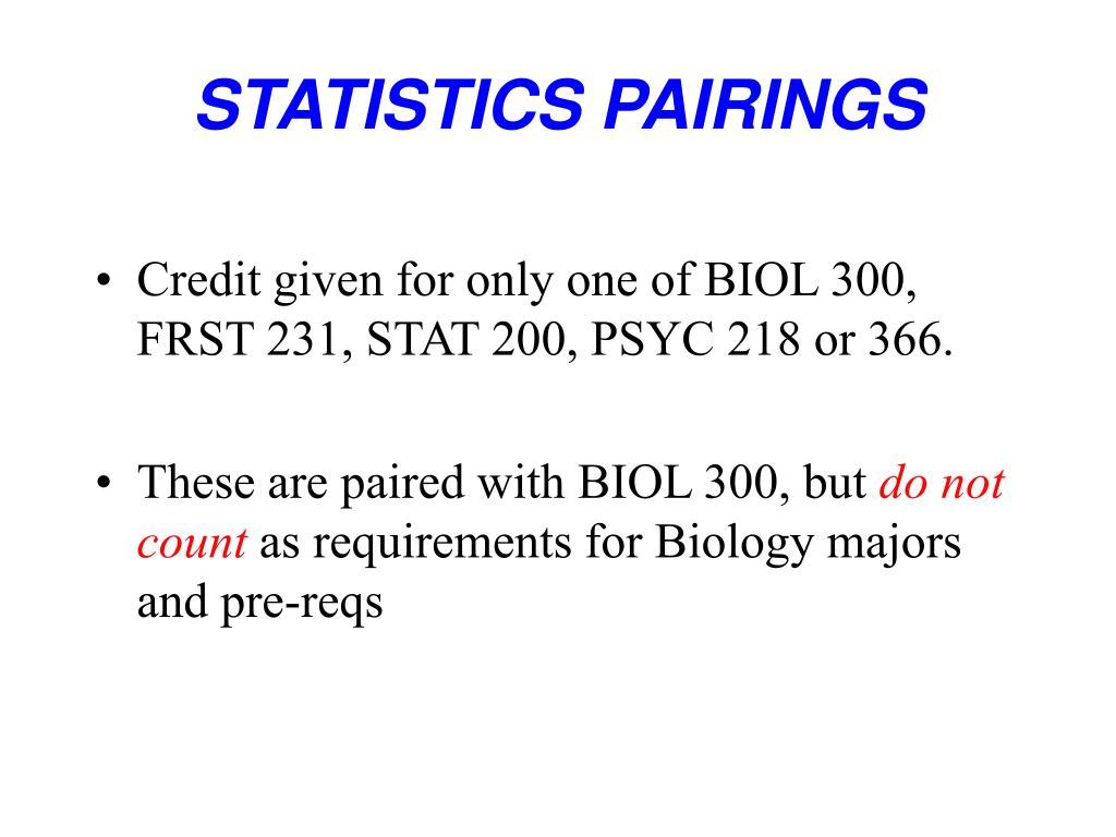 STATISTICS PAIRINGS
