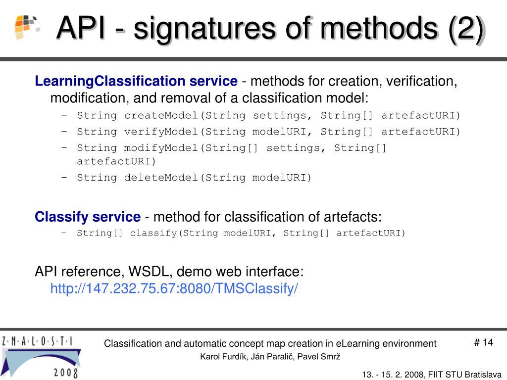 API - signatures of methods (2)