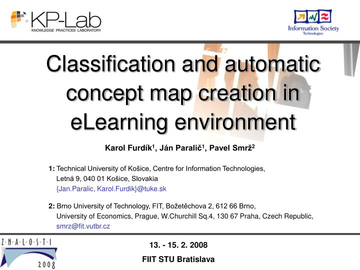 Classification and automatic concept map creation in elearning environment l.jpg