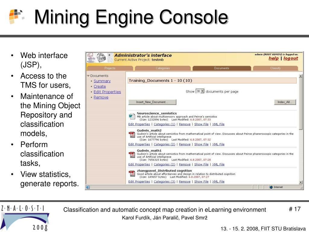 Mining Engine Console