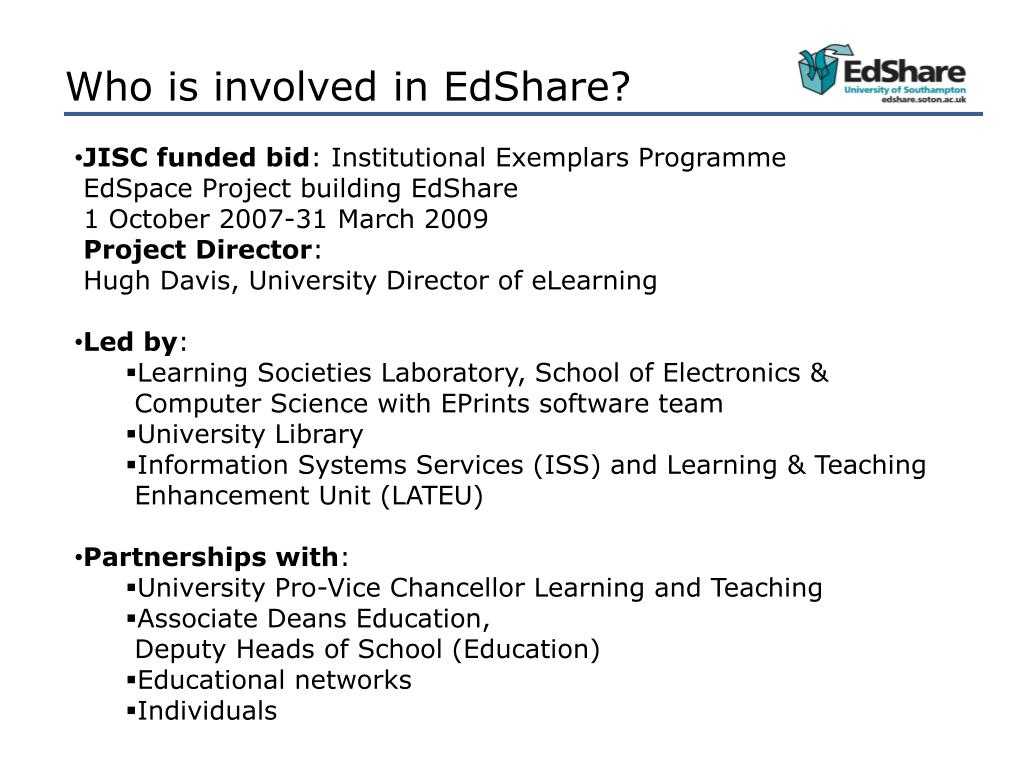 Who is involved in EdShare?