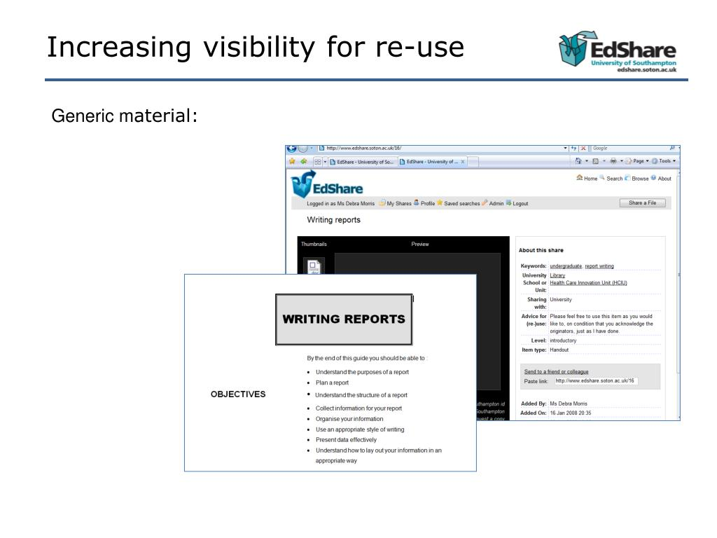 Increasing visibility for re-use