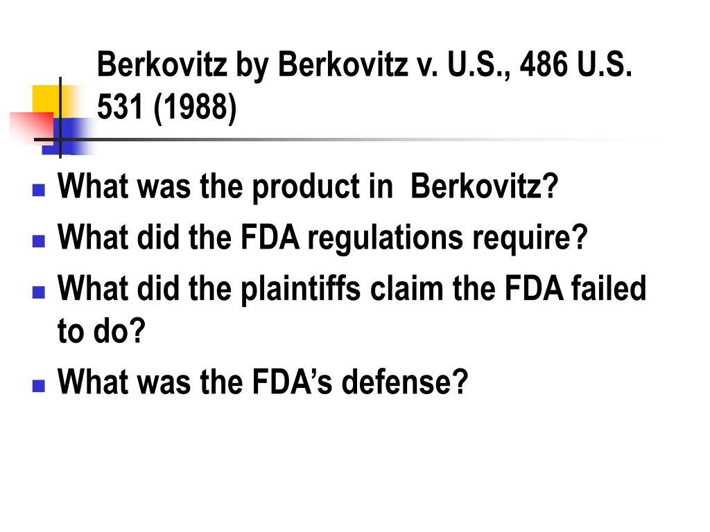 Berkovitz by Berkovitz v. U.S., 486 U.S. 531 (1988)