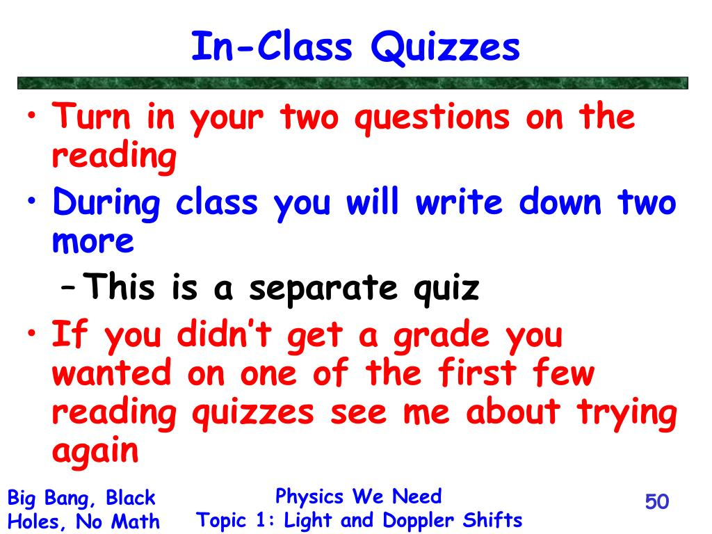 In-Class Quizzes