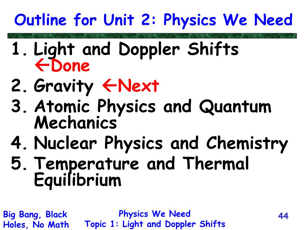 Outline for Unit 2: Physics We Need