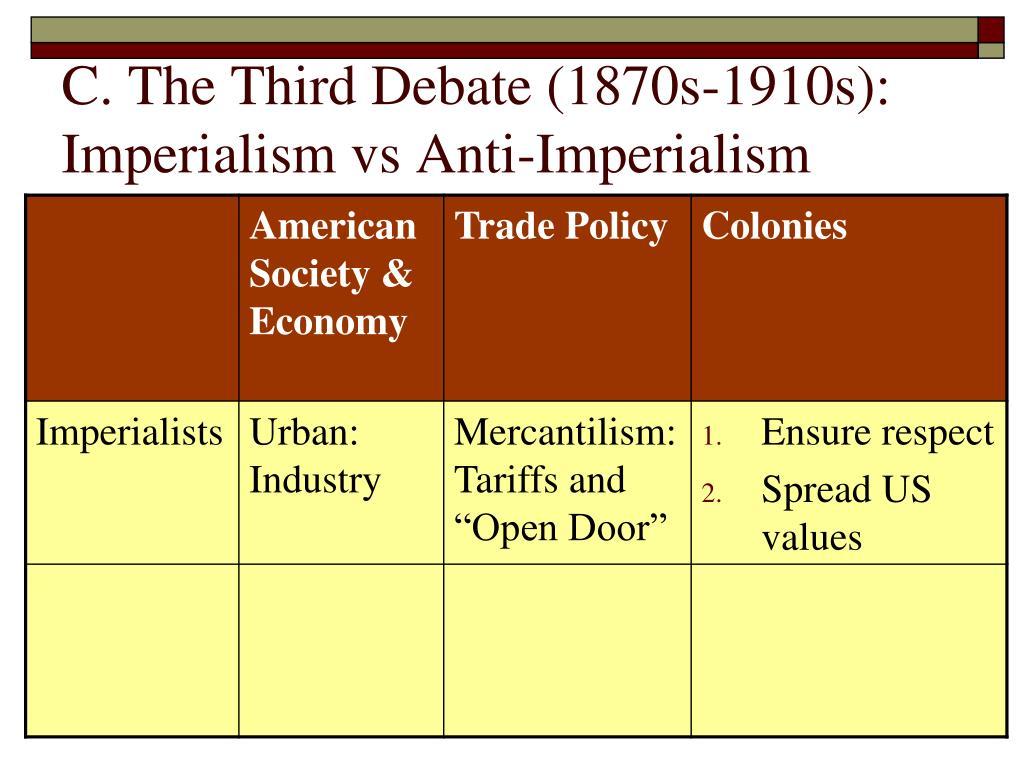 C. The Third Debate (1870s-1910s):