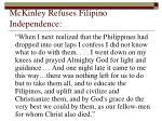 mckinley refuses filipino independence