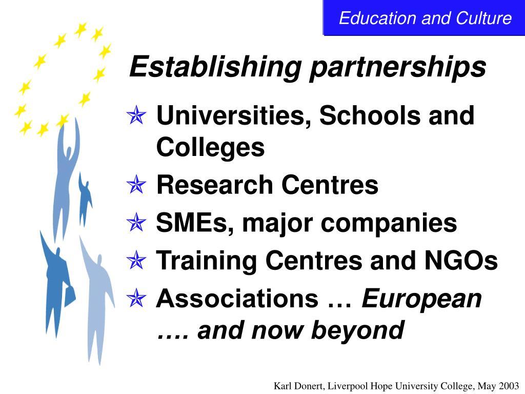 Establishing partnerships