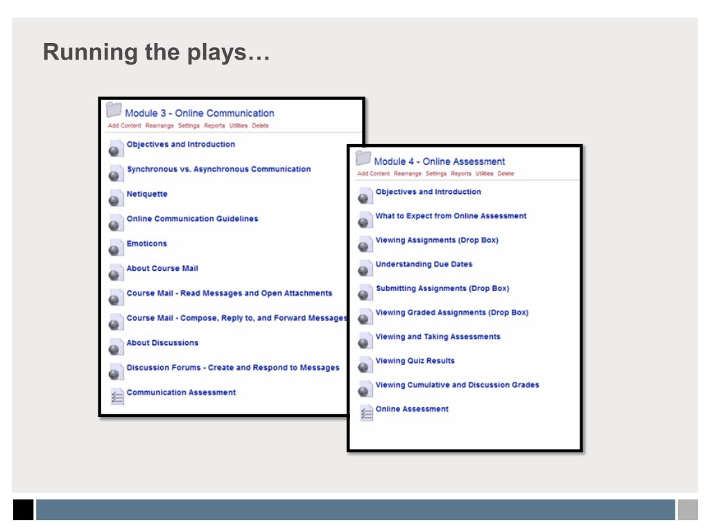 Running the plays…