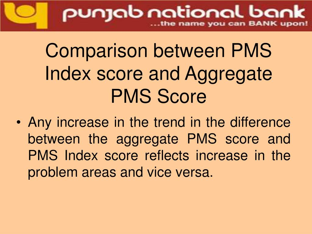 Comparison between PMS Index score and Aggregate PMS Score