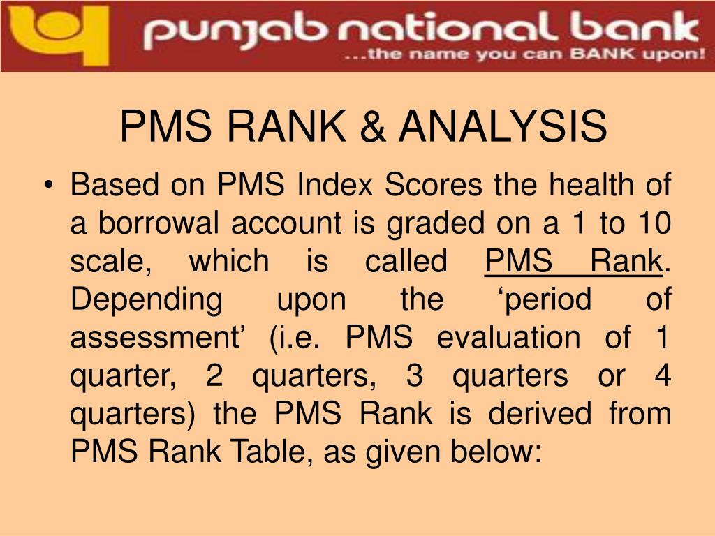 PMS RANK & ANALYSIS
