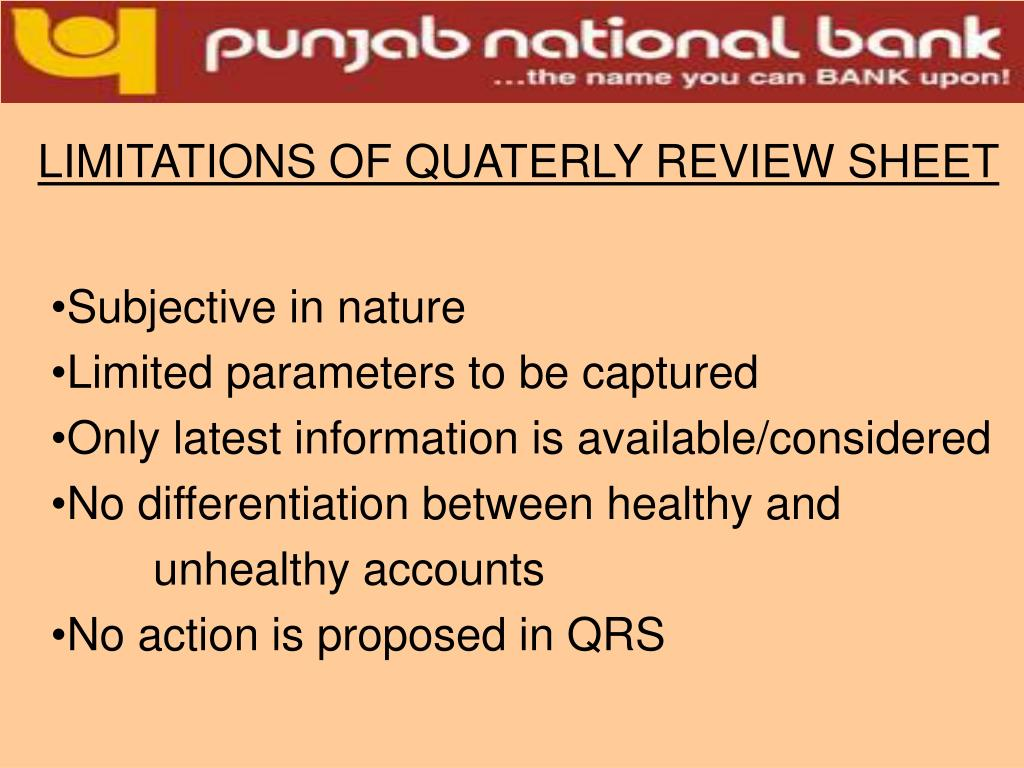 LIMITATIONS OF QUATERLY REVIEW SHEET