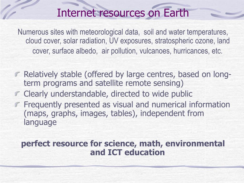 Internet resources on Earth