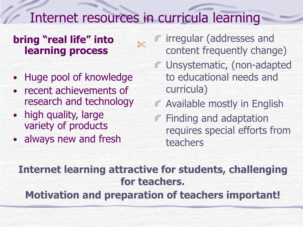 Internet resources in curricula learning
