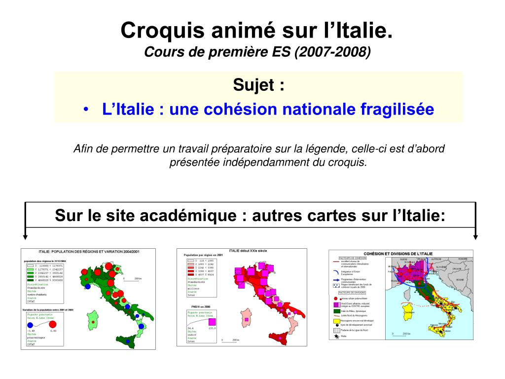 Croquis animé sur l'Italie.