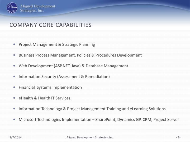 Company core capabilities