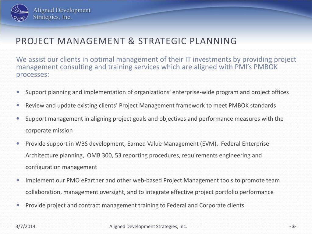 Project management & strategic planning