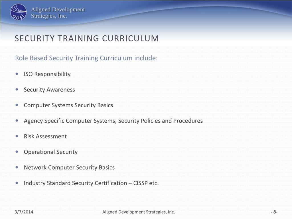 SECURITY Training Curriculum