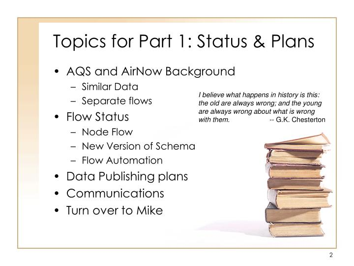 Topics for part 1 status plans