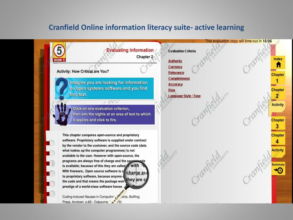 Cranfield Online information literacy suite- active learning