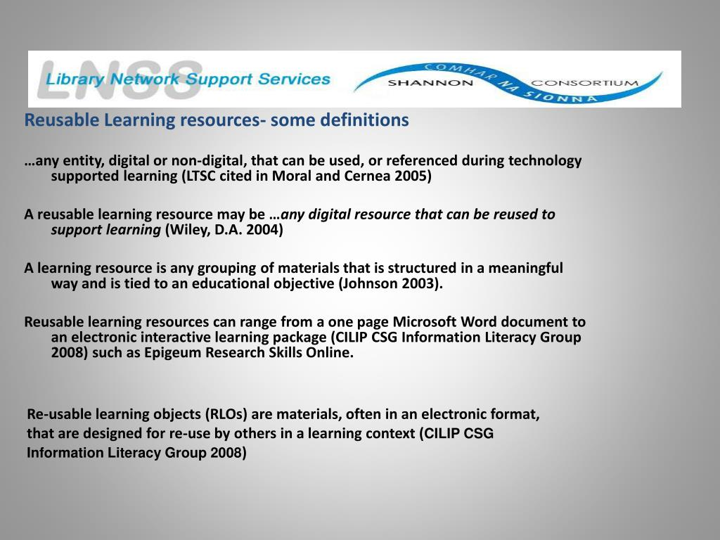 Reusable Learning resources- some definitions
