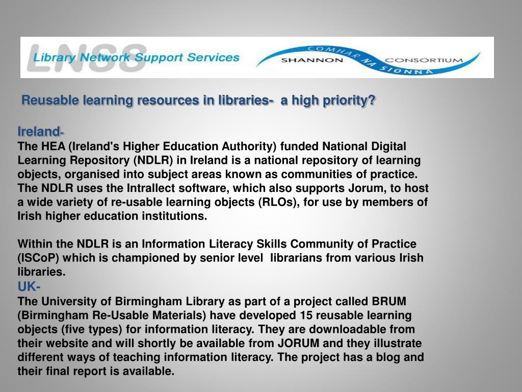 Reusable learning resources in libraries-  a high priority?