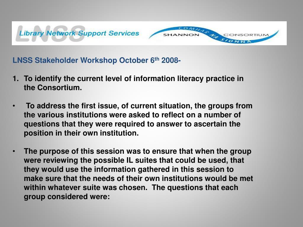 LNSS Stakeholder Workshop October 6