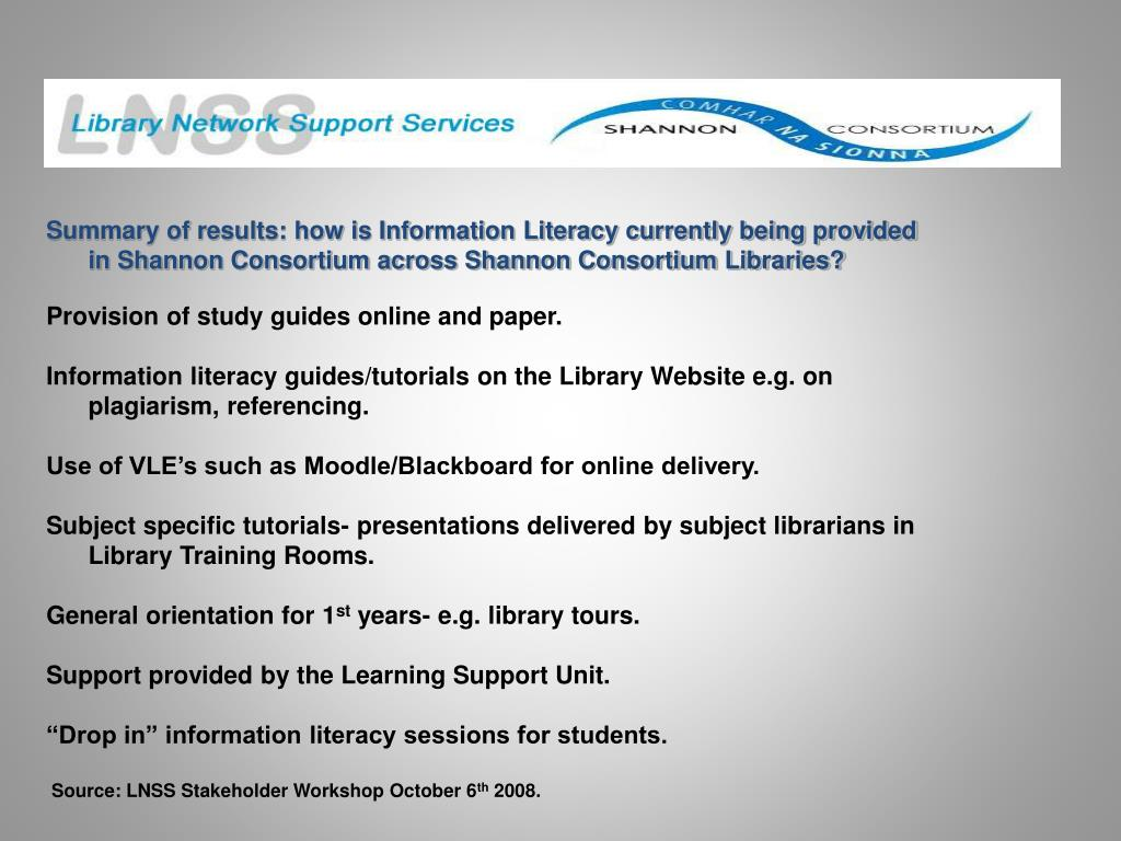 Summary of results: how is Information Literacy currently being provided in Shannon Consortium across Shannon Consortium Libraries?