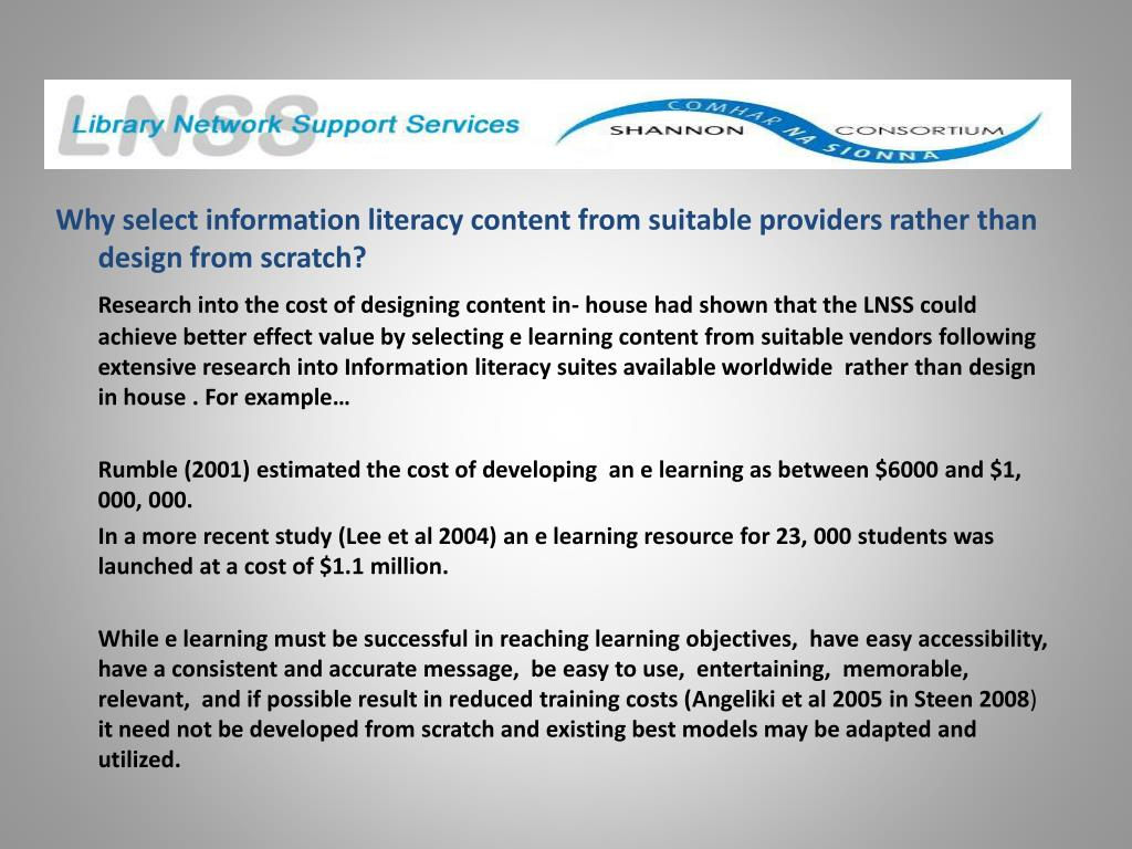 Why select information literacy content from suitable providers rather than design from scratch?
