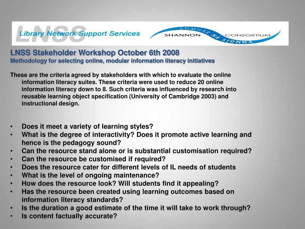 LNSS Stakeholder Workshop October 6th 2008