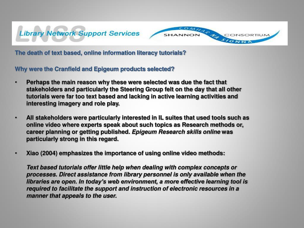The death of text based, online information literacy tutorials?