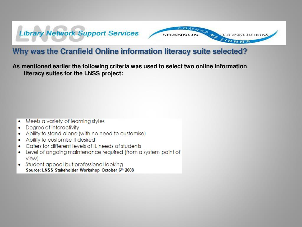 Why was the Cranfield Online information literacy suite selected?