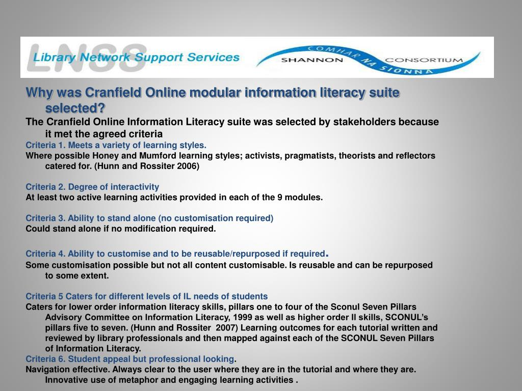 Why was Cranfield Online modular information literacy suite selected?