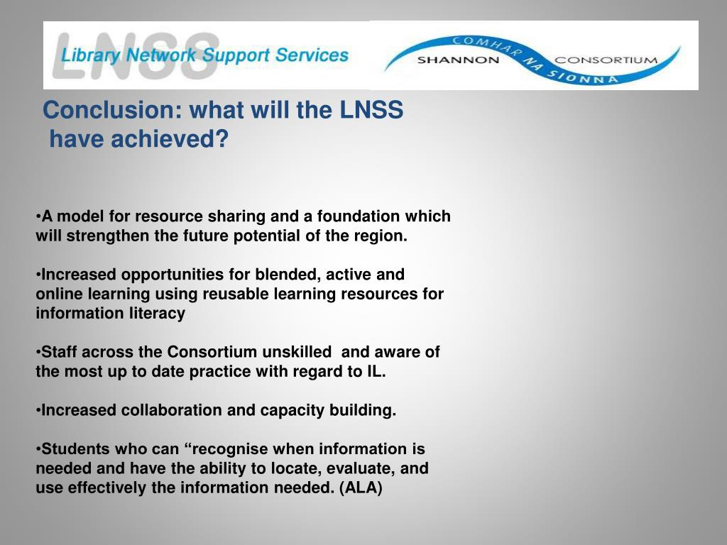 Conclusion: what will the LNSS