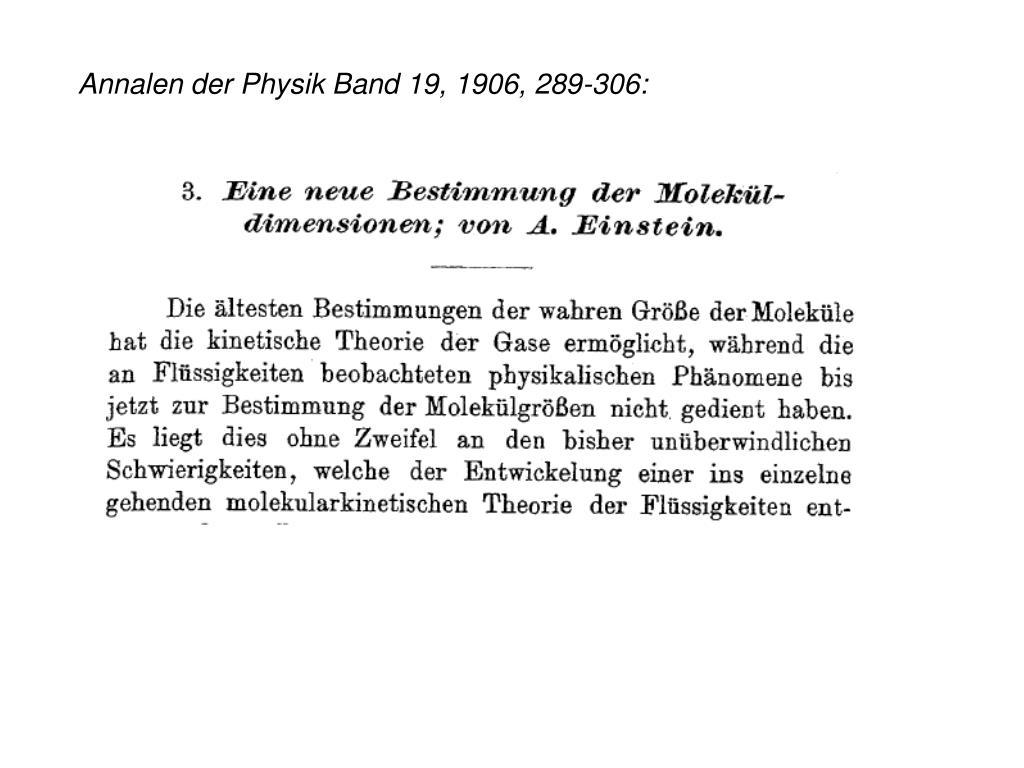 Annalen der Physik Band 19, 1906, 289-306:
