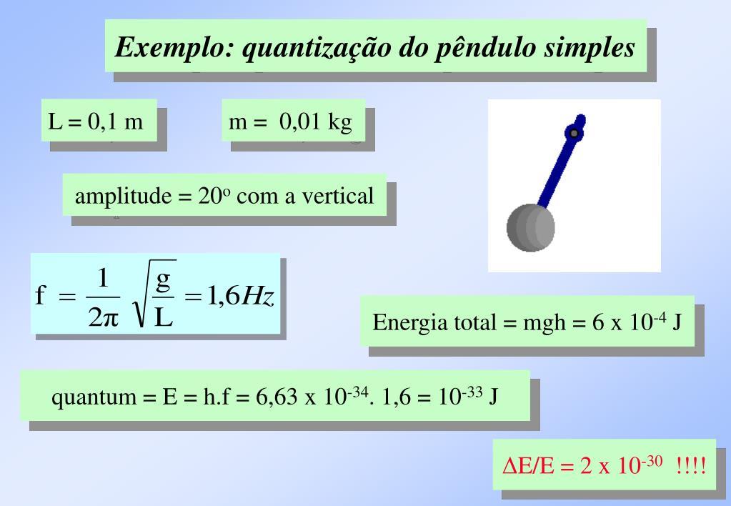 Exemplo: quantização do pêndulo simples