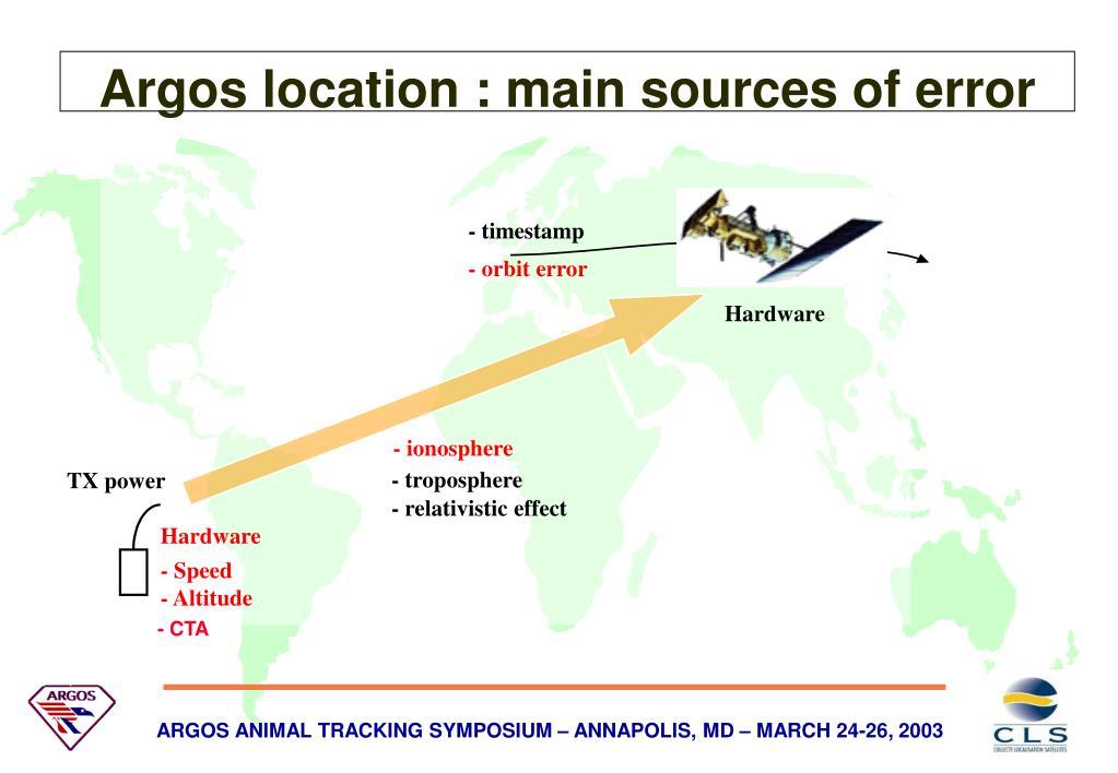 Argos location : main sources of error