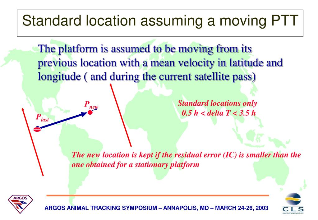 The platform is assumed to be moving from its previous location with a mean velocity in latitude and longitude ( and during the current satellite pass)