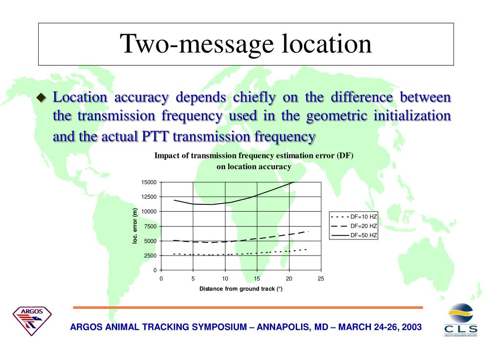 Location accuracy depends chiefly on the difference between the transmission frequency used in the geometric initialization and the actual PTT transmission frequency