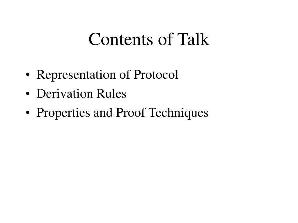 Contents of Talk