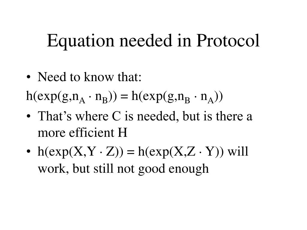 Equation needed in Protocol
