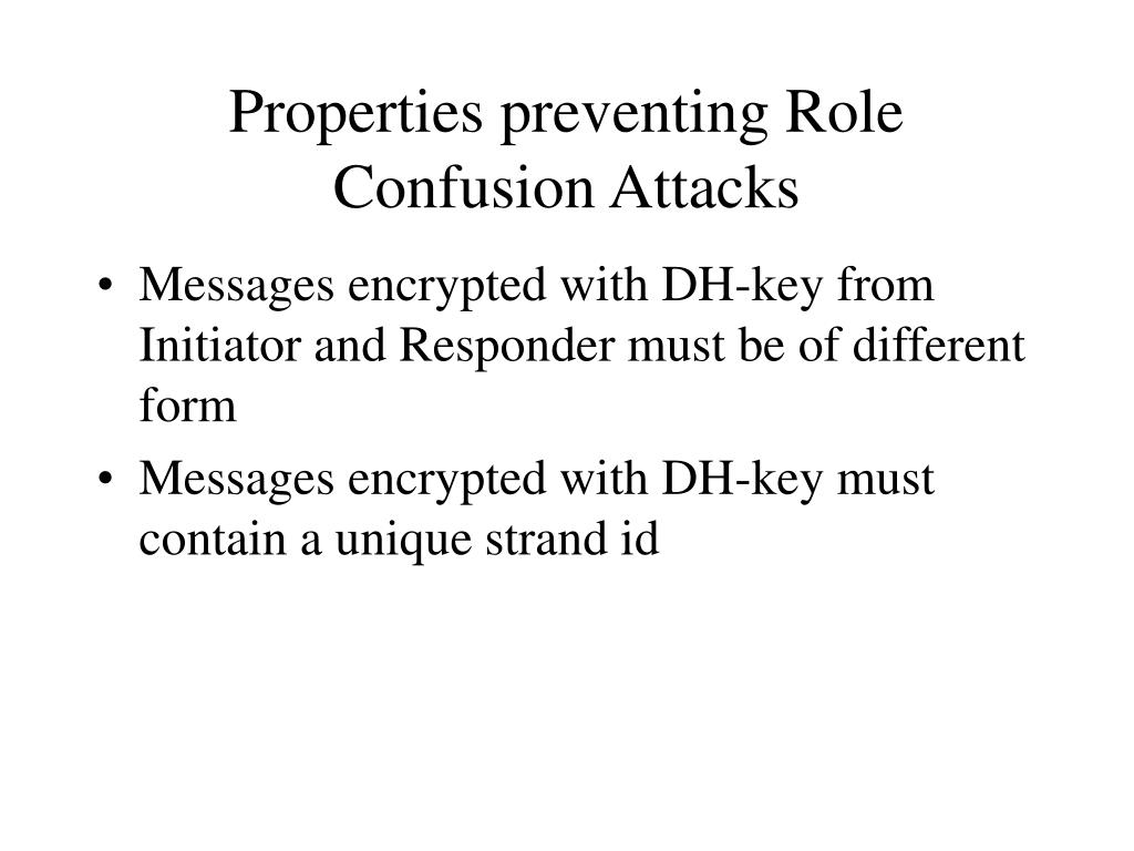 Properties preventing Role Confusion Attacks